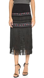 Twelfth St. By Cynthia Vincent Fringe Midi Skirt Black