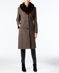 Jones New York Faux Fur Collar Walker Coat Walnut