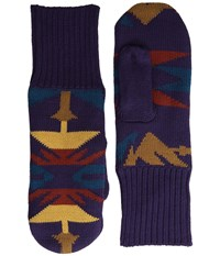 Pendleton Fleece Lined Mittens Echo Peaks Purple Wool Gloves Brown