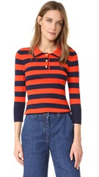Frame Rugby Stripe Sweater Navy And Tomato
