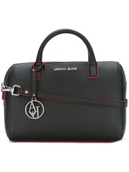 Armani Jeans Contrast Stitching Tote Bag Black