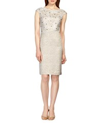 Kay Unger Floral Embroidered Tweed Sheath Dress Cream