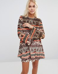 Glamorous Swing Dress Brown Print Velvet