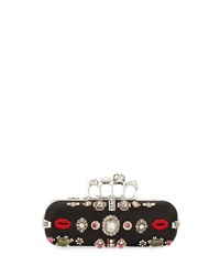 Alexander Mcqueen Embroidered Knuckle Box Clutch Bag Black Multi