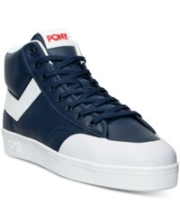 Pony Men's Vintage Slam Dunk Hi Stadium Casual Sneakers From Finish Line Navy White Red