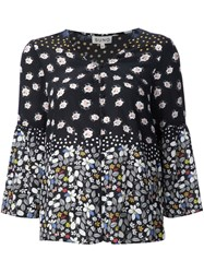 Suno Floral V Neck Blouse Black