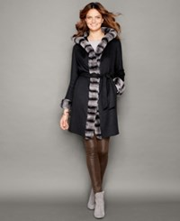 The Fur Vault Rabbit Fur Trim Wool Cashmere Coat Black Grey