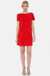 Petite Women's Tahari Laser Cut Crepe Shift Dress