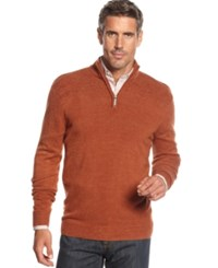 Geoffrey Beene Sweater Quarter Zip Mock Neck Ribbed Yoke Pullover