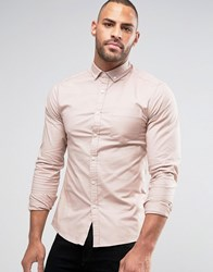 Asos Long Sleeve Skinny Fit Oxford Shirt Supreme Pink