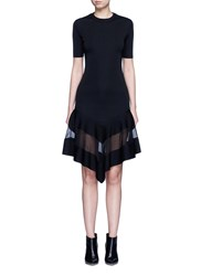 Givenchy Contrast Mesh Panel Knit Dress Black
