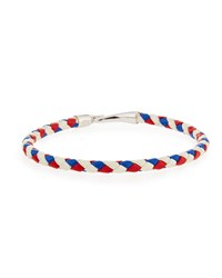 Mateo Sterling And Woven Leather Rope Hook Bracelet Red Blue White