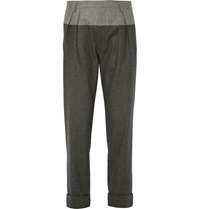 Wooster Lardini Colour Block Cropped Wool Flannel Trousers Gray