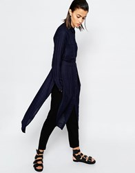 Warehouse Long Sleeve Longline Tunic Navy