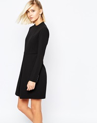 The Laden Showroom X Meekat Tailored Dress With Front Pleat And Button Cuff Detail Black