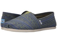 Toms Seasonal Classics Navy Green Zig Zag Men's Slip On Shoes Blue