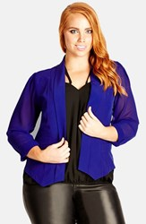Plus Size Women's City Chic Chiffon Sleeve Blazer Pool