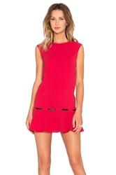 The Kooples Low Waist Dress In Crepe And Vinyl Red