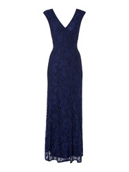 Shubette Lace V Neck Gown With Piping Detail Navy