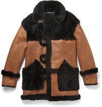 Coach Leather Trimmed Two Tone Shearling Coat Black