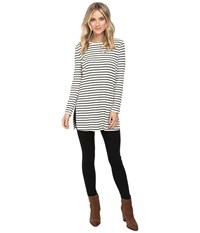 Culture Phit Geralyn Long Sleeve Top With Side Slits White Black Women's Clothing
