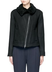Vince Shearling Collar Moto Jacket Black