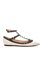 Valentino Color Block Rockstud Leather Cage Flats In White Black
