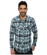 Long Sleeve Snap B2s3017 Turquoise Men's Long Sleeve Button Up Blue