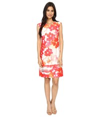 Vince Camuto Printed Scuba Extended Cap Sleeve Shift Dress Pink Multi Women's Dress