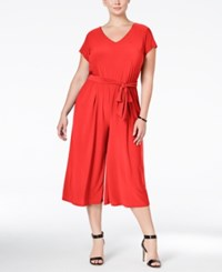 Ny Collection Plus Size Belted Gaucho Jumpsuit Sour Coral