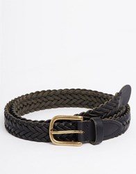 Asos Super Skinny Leather Plaited Belt In Black Black