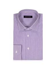 Forzieri Purple And White Striped Cotton Slim Fit Men's Shirt