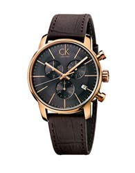 Calvin Klein Mens Swiss City Rose Goldtone Chronograph Brown Leather Strap Watch