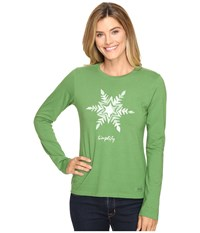 Life Is Good Painted Simplify Snowflake Long Sleeve Crusher Tee Treetop Green Women's Long Sleeve Pullover