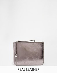 Warehouse Zip Top Clutch Pewter Metallic