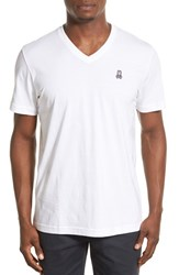 Men's Psycho Bunny Pima Cotton V Neck T Shirt White