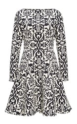 Lela Rose Black Ornamental Jacquard Fit And Flare Dress
