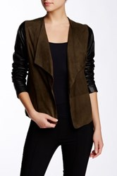 Vince Two Tone Suede And Leather Drape Front Jacket Multi