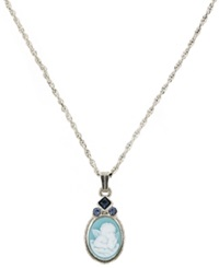 Vatican Necklace Silver Tone Blue Cameo Angel Pendant