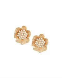 Lydell Nyc Golden Flower Stud Earrings W Crystals