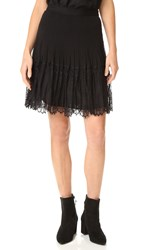 Rebecca Taylor Silk And Lace Skirt Black
