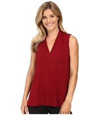 Vince Camuto Sleeveless V Neck Top Malbec Red Women's Clothing Burgundy