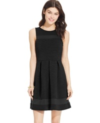 Speechless Juniors' Pleated Illusion Scuba Dress Black