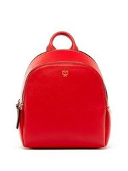 Mcm Studded Leather Backpack Ruby Red Black