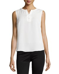 Laundry By Shelli Segal Sleeveless Lace Up Top Pearl White