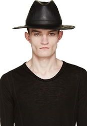 Ma Julius Black Cracked Ponti Trilby