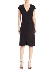Polo Ralph Lauren Suede Cap Sleeve Wrap Dress Polo Black