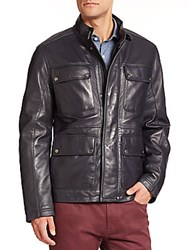 Saks Fifth Avenue Four Pocket Leather Jacket Navy
