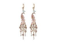 Betsey Johnson Pinktina Peacock Large Chandelier Earrings Pink Multi Rose Gold Earring