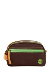 Timberland Genuine Leather Trimmed Canvas Travel Kit Brown